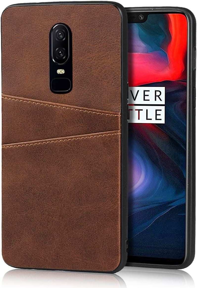 Chocolate Brown Zouzt Card Back Cover Case Compatible with OnePlus 6 ; Fashion Vagen Leather Professional Business Protection Cover with 2 Card Holder Slots