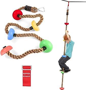 Odoland Cuerda de Escalada de 6.6 pies / 2 Metros para Niños con 1 Hebilla Cuadrada y 1 Anillo Delta, Cuerda de Color Ninja para Accesorios de ...