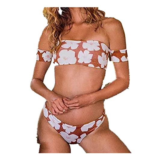 6939acf22a Challyhope Women Sexy Strapless Bikini Push-Up Wrap Chest Floral Print  Beachwear Set (S