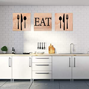 Yulejo 3 Pieces EAT Sign Kitchen Wall Decor Rustic Farmhouse Fork Spoon Wall Decor Wooden Wall Plaque for Home Dining Living Room Bar Cafe Restaurant, 8 x 8 Inch