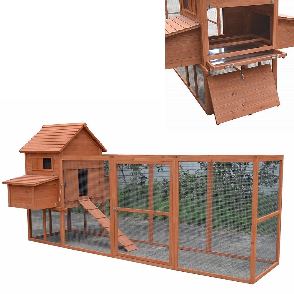 Melko Hühnerstall XXL Hühnerhaus mit Freigehege, aus Holz, 310 x 150 ...