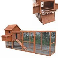 Melko Hühnerstall XXL Hühnerhaus mit Freigehege, aus Holz, 310 x 150 x 150 cm, inklusvie Rampe + 2 Nestboxen