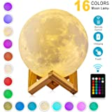 DTOETKD Moon Lamp 3D Printing 16 Colors Moon Light Stand & Remote &Touch Control USB Rechargeable (Diameter 4.72 inch), Best Gifts Baby Kids LoverBirthday