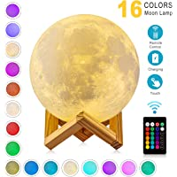 Moon Lamp 3D Printing 16 Colors Moon Light with Stand & Remote &Touch Control and USB Rechargeable (Diameter 4.72 inch), Best Gifts for Baby Kids LoverBirthday
