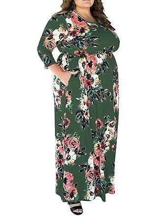 Kinikiss Damen 3/4 Ärmel Blumendruck Maxi Party Kleider Plus Größe ...