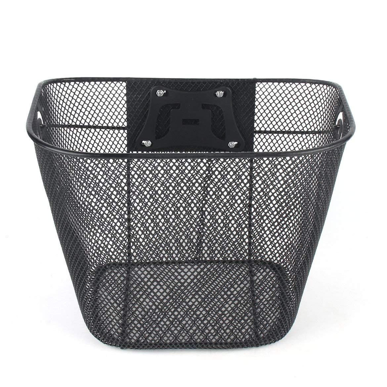 Black ngzhongtu Bicycle Metal Mesh Basket MTB Mountain Bike Basket Quick Release Handle Cycling Bicycle Front Foldable Basket