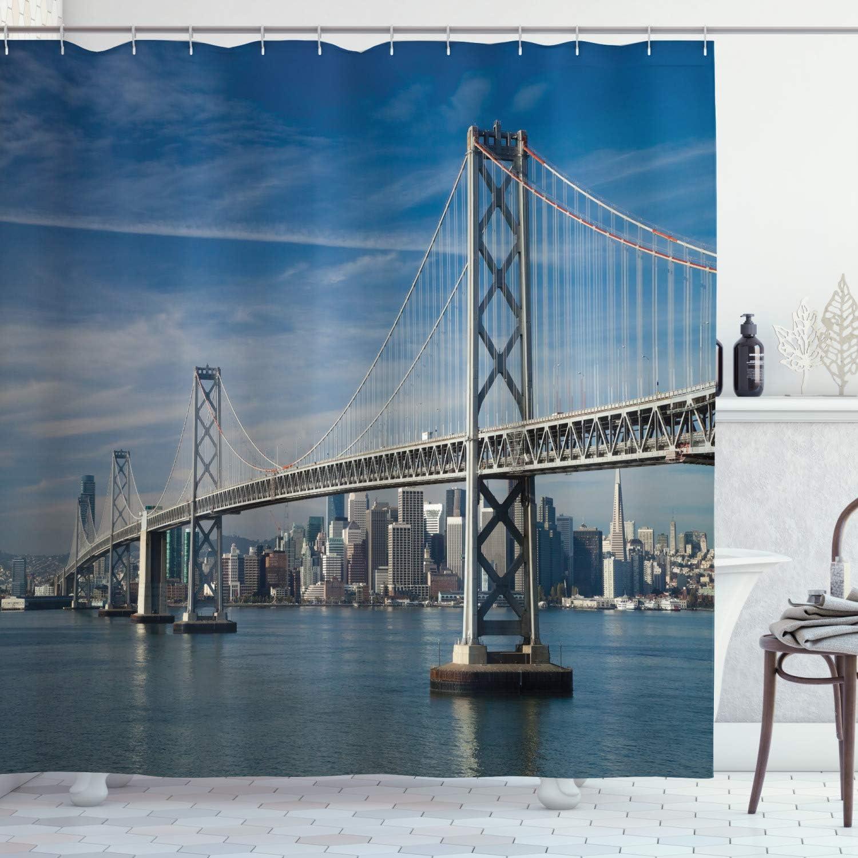 Cityscape Shower Curtain San Francisco Bridge Print for Bathroom