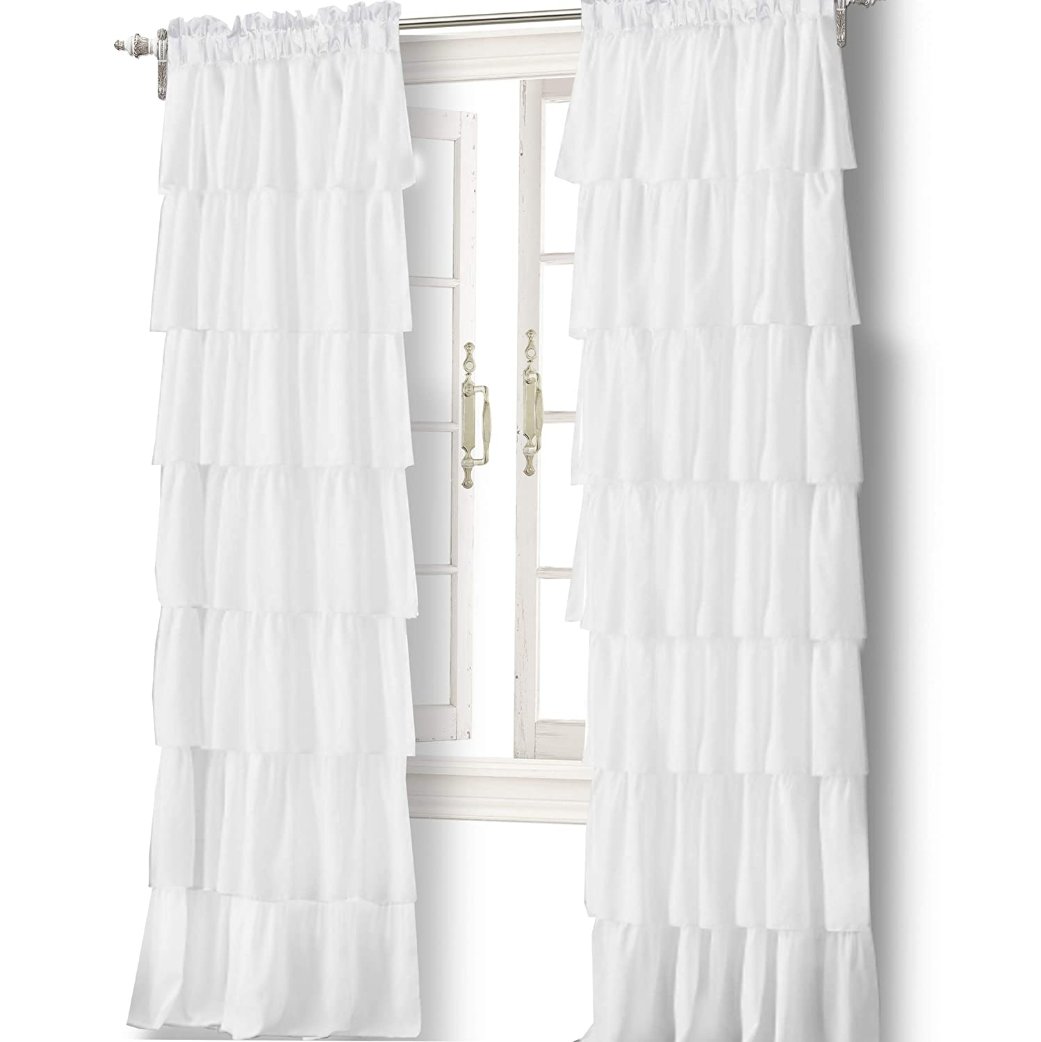 "DriftAway Pom Pom Ruffle Window Curtain Valance for Kids Room, Rod Pocket, One Panel, 52""x18"" Plus 2"