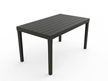 Kunststoff Gartentisch U0026quot;Sumatra Anthrazitu0026quot; Mit Platte In Holz  Optik, 140 X 80