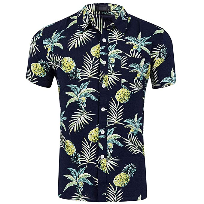 1aadc5b90674 Honiee Men's Bright Colored Pineapple Button Down Hawaiian Shirt -Loud  Print Aloha Shirt (Black