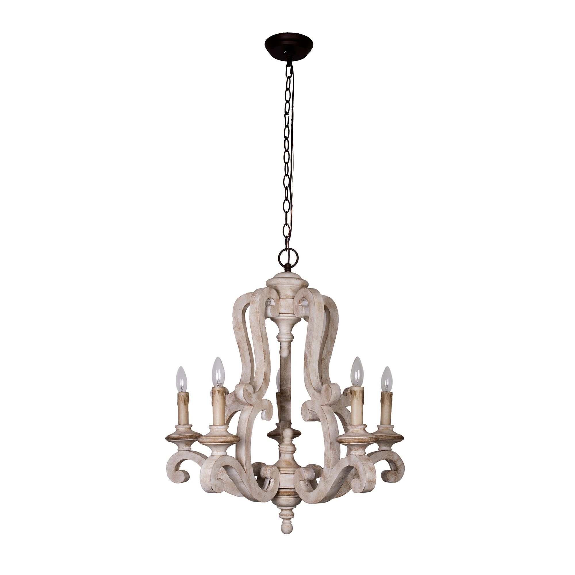 Antique Wooden Chandelier with Candle Bulbs 5 Lights Vintage Farmhouse Pendant Ceiling Lighting, 39 Inch Adjustable Chain, Beige