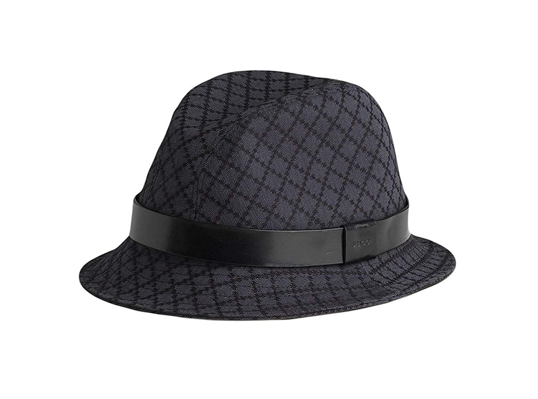 Amazon.com  Gucci Unisex Black Charcoal Cotton Medium Diamante Fedora Hat  200036 1160  Clothing ee69406b386c