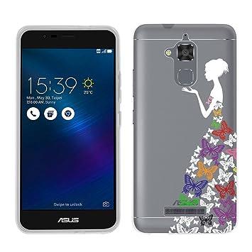Wenjie ASUS Zenfone 3 MAX zc520tl Funda Carcasa, niña Mariposa Silicona Fina Back Case Muelles de TPU Transparente para ASUS Zenfone 3 MAX zc520tl 5.2 ...