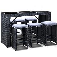 Gardeon 7 Piece Outdoor Dining Furniture Set Rattan Wicker Bar Table Stool-Black