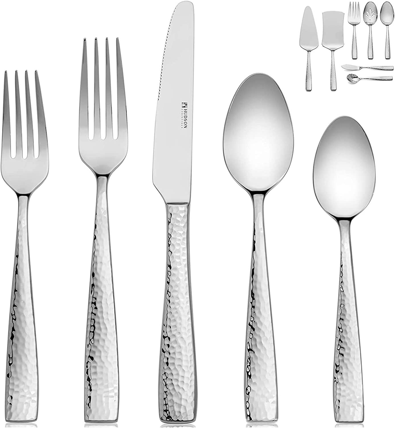 Hudson Essentials 68-Piece Hammered 18/10 Stainless Steel Flatware Silverware Set with Serving Set, Service for 12