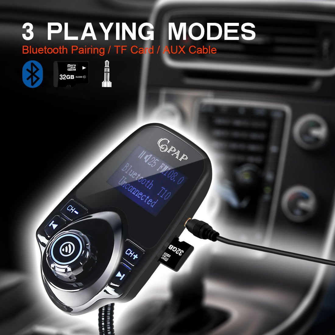Copap Bluetooth FM Transmitter Wireless in-Car Radio Adapter Kit Audio Receiver Voltmeter MP3 Player with 5V//2.1A USB Charge Port TF Card Slot AUX Port Hands-Free Calling Automart T10