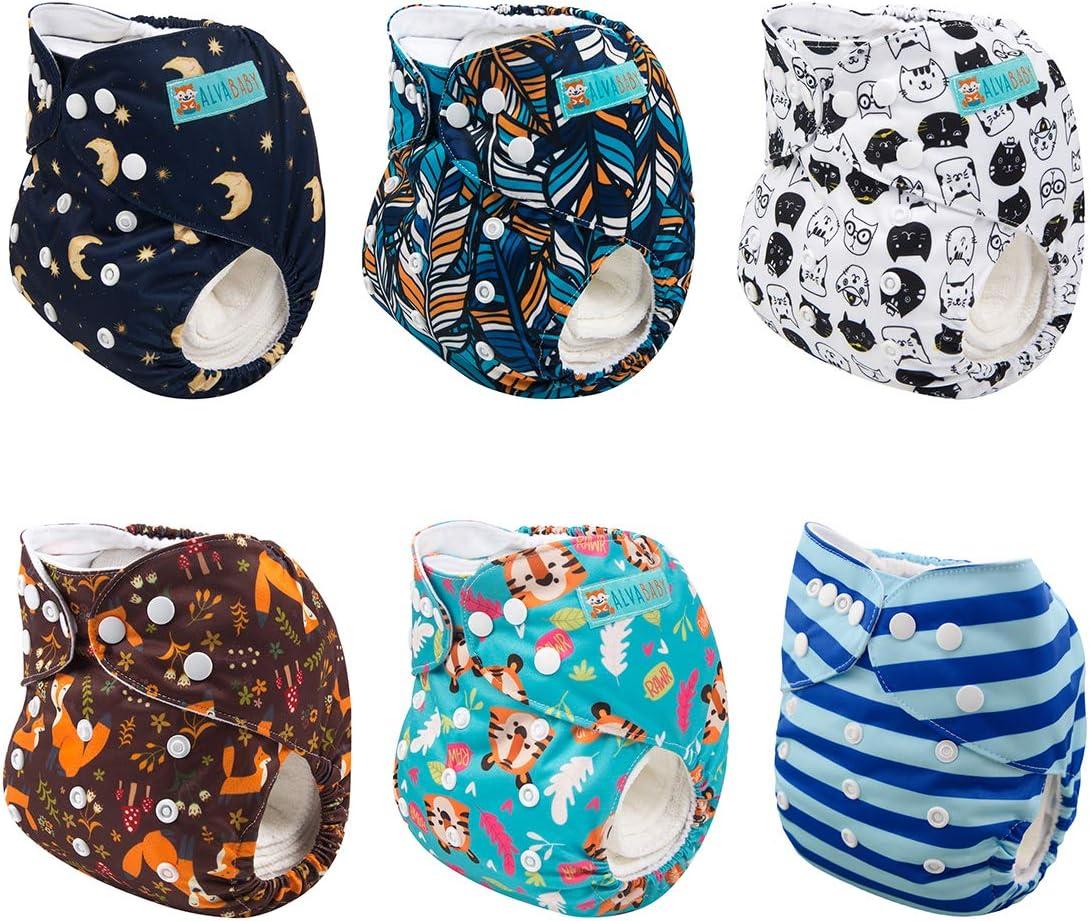 12 Inserts Boy Color Alva Baby 6pcs Pack Pocket Washable Adjustable Cloth Diapers Nappies 6DM07