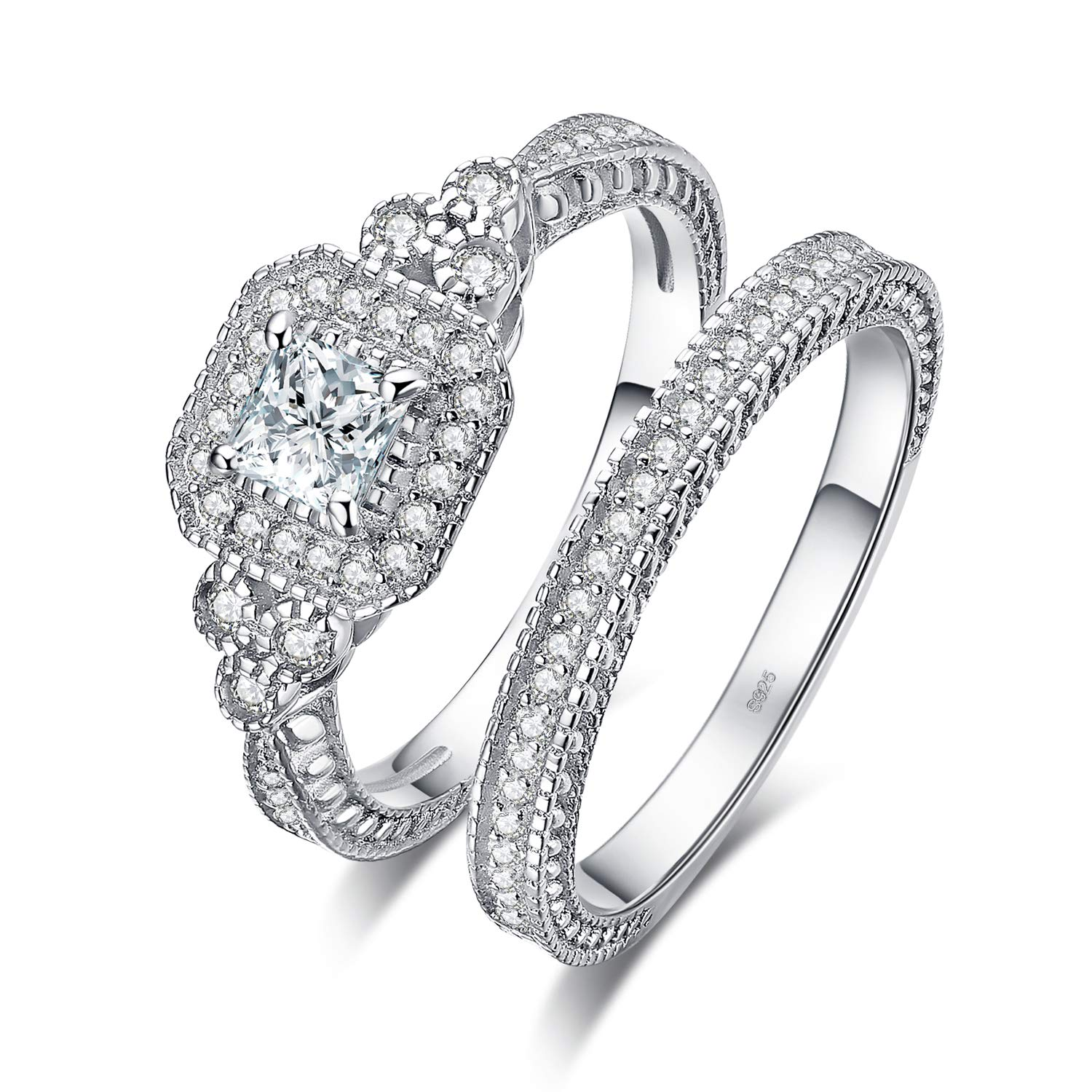 JewelryPalace 0.3ct 1ct 2ct Princess Cut Cubic Zirconia Engagement Rings For Women Anniversary Promise Wedding Band Bridal Sets 925 Sterling Silver Ring Size 4-12