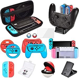 Kit Accesorios para Nintendo Switch, Funda Protector de Pantalla para Switch Consola, Estuche De Juegos, Funda de Silicona Grips Wheel Caps Cargador para Nintendo Switch Joy-Con Mandos (11 in 1): Amazon.es: Videojuegos