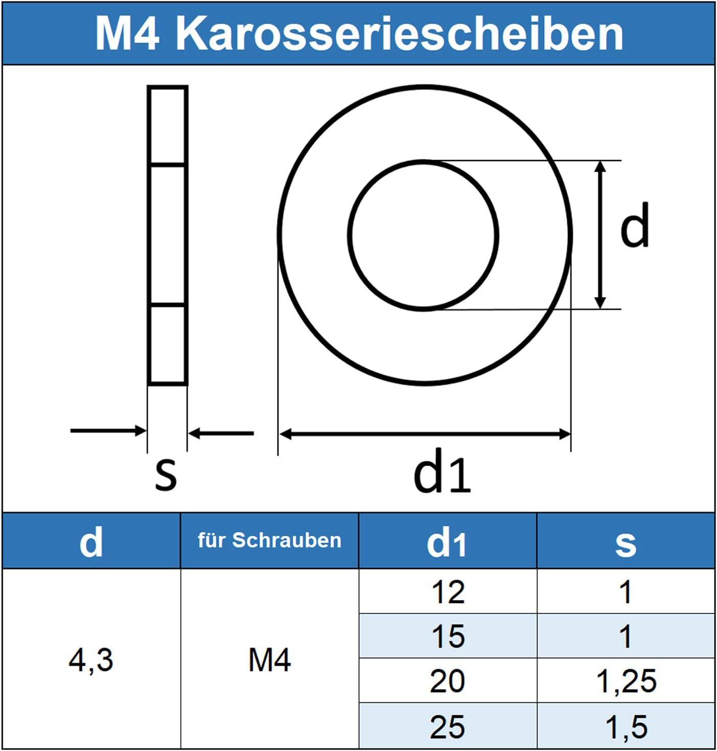 Kotfl/ügelscheiben - Beilagscheiben 10 St/ück Edelstahl A2 V2A M6 Karosseriescheiben 6,4 X 30 mm rostfrei Eisenwaren2000