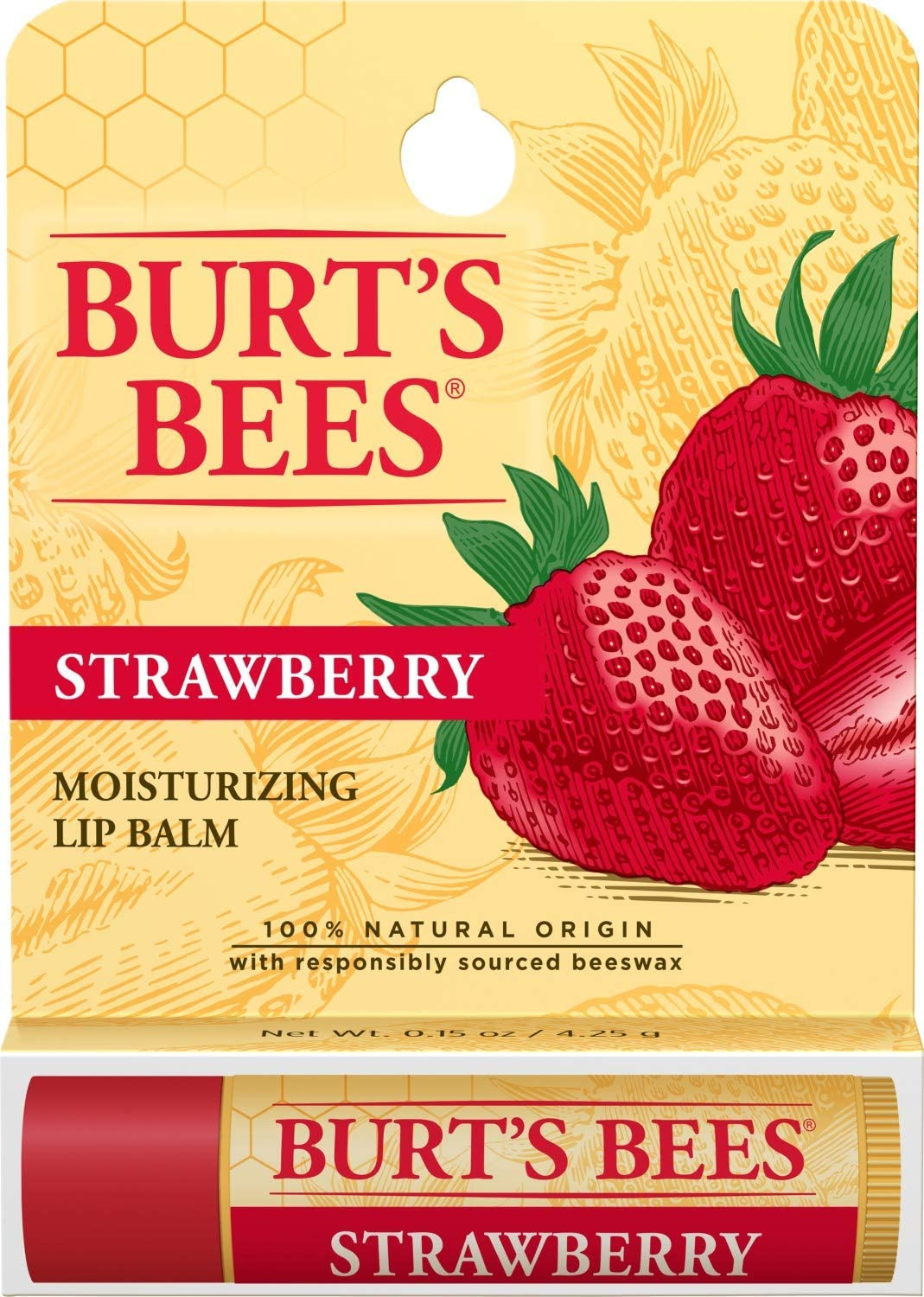 Burt's Bees Moisturizing Lip Balm, Strawberry, 0.15 Ounce
