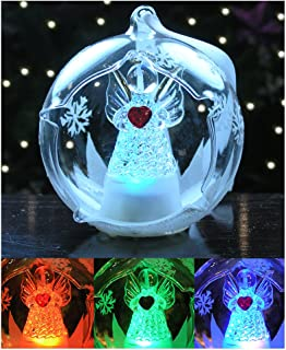 led glass globe christmas ornament angel with red heart and hand painted glittery snowflakes color