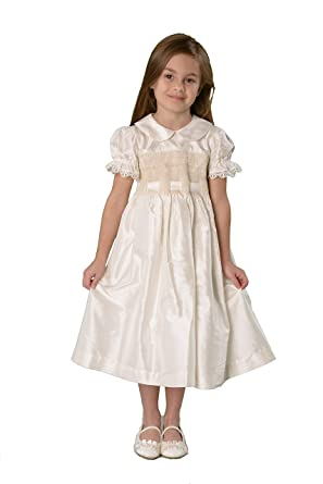 Strasburg Children Little Girls Silk Smocked Dress Flower Girl Ivory  Holiday Dresses (4) c525d211a
