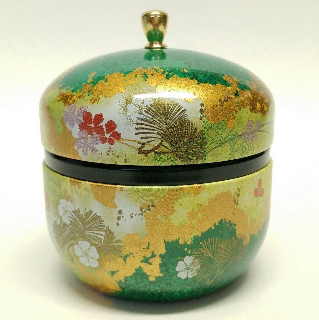 Japanese tea canister tin Suzuko / double lid / air-tight / 3.5 oz (150g) green tea (green)