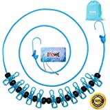 ITOWE Travel Elastic Clothesline Camping Clothes Lines Adjustable Clothes Rope with 12pcs Clothespins Portable Clothesline wi
