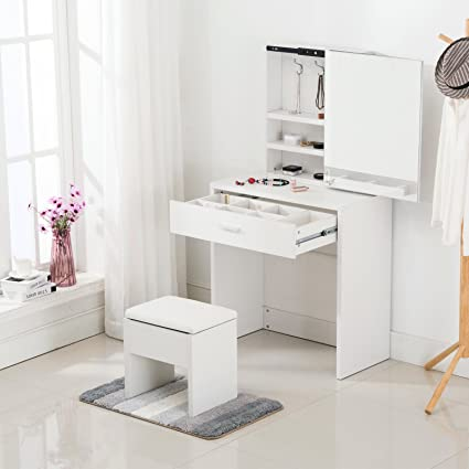 sale retailer 06d61 25009 mecor Simple Multi-functional Dressing Table with Large Sliding Mirror &  Leather Stool Storage Vanity Makeup Desk (White)