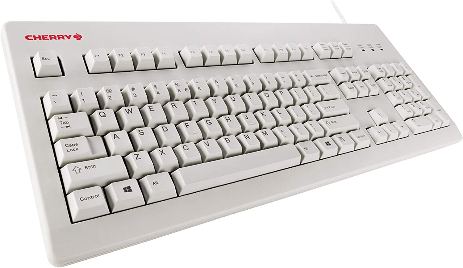 white Cherry mechanical keyboard at an angle