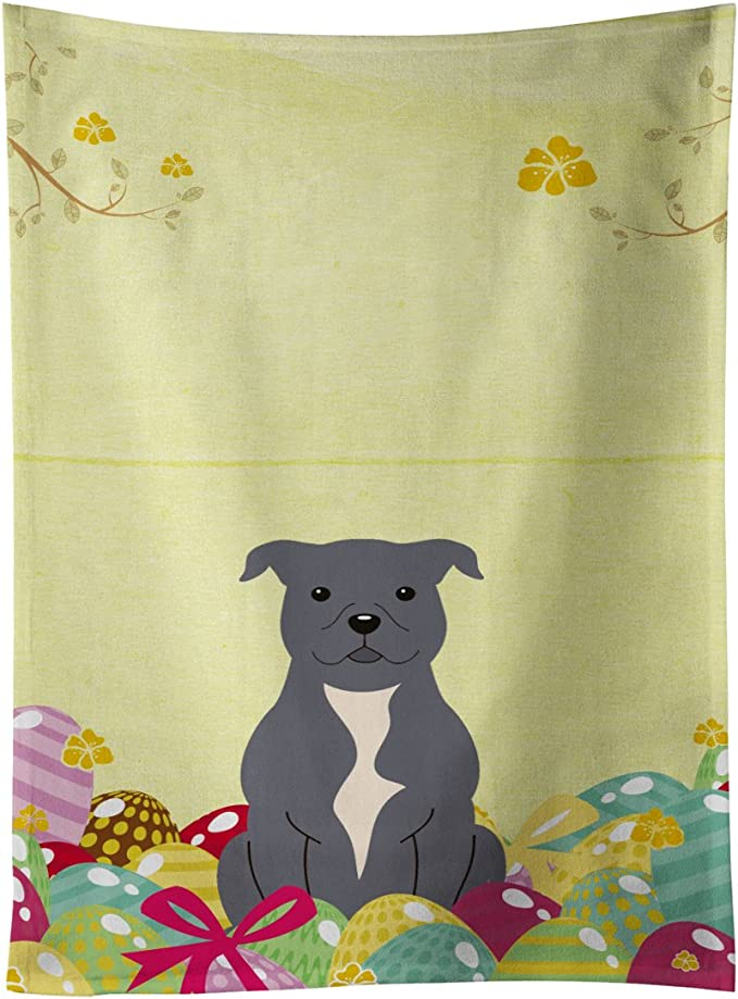 Caroline S Treasures Bb6046ktwl Easter Eggs Staffordshire Bull Terrier Blue Kitchen Towel 15 X 28 Multicolor Kitchen Dining