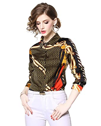 2319fc0beee46 Women s Chain   Baroque Print Shirt Long Sleeve Button up Casual Blouse Top  at Amazon Women s Clothing store
