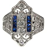Vintage Style Created Sapphire and Clear CZ Estate Victorian Art Deco Ring