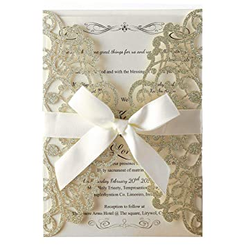 LORTAL 50X - Tarjetas de invitación Cortadas con láser de Purpurina con Lazo Floral para Invitaciones