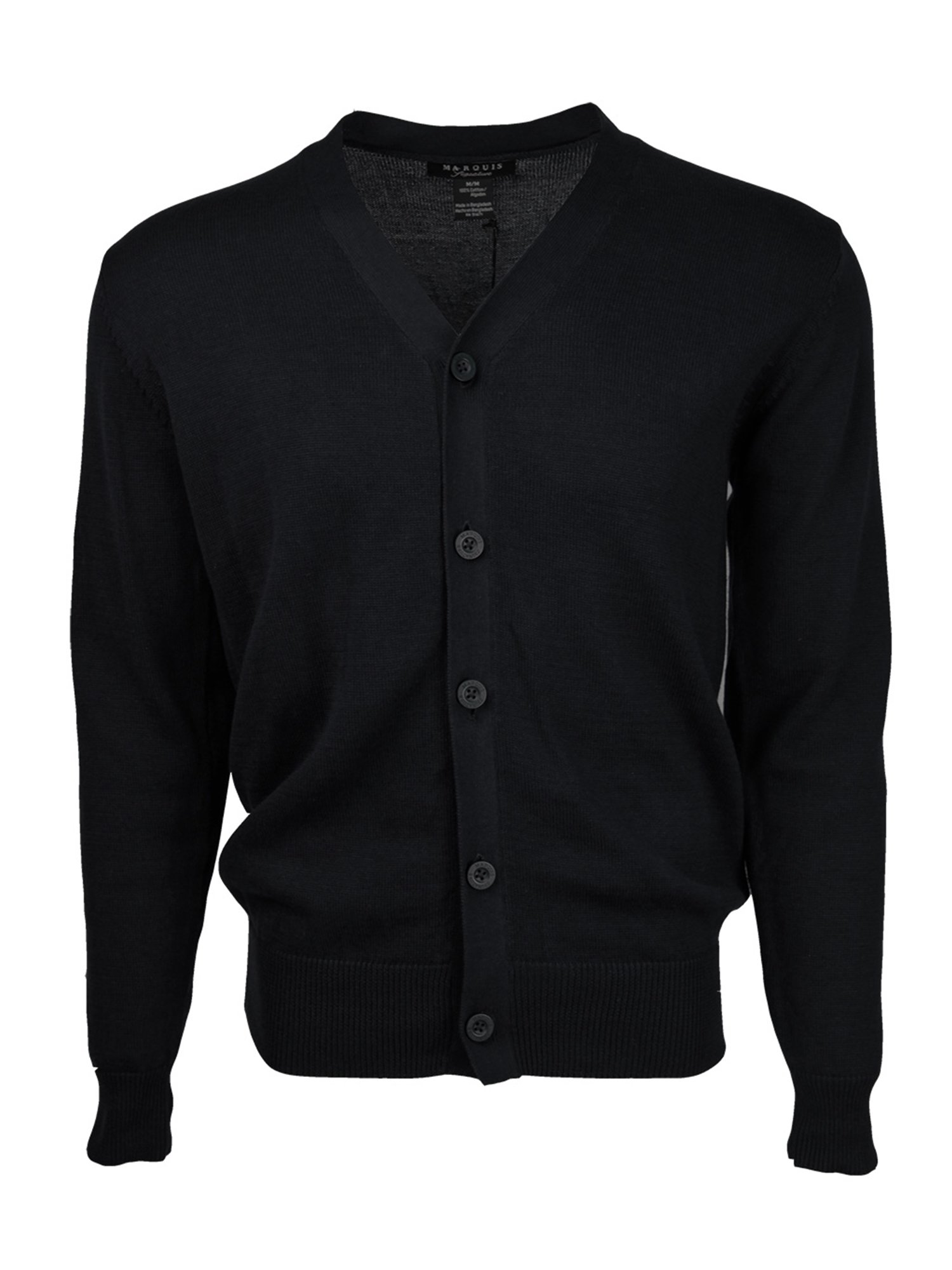 Marquis Men's Black Solid Button 100% Cotton Cardigan
