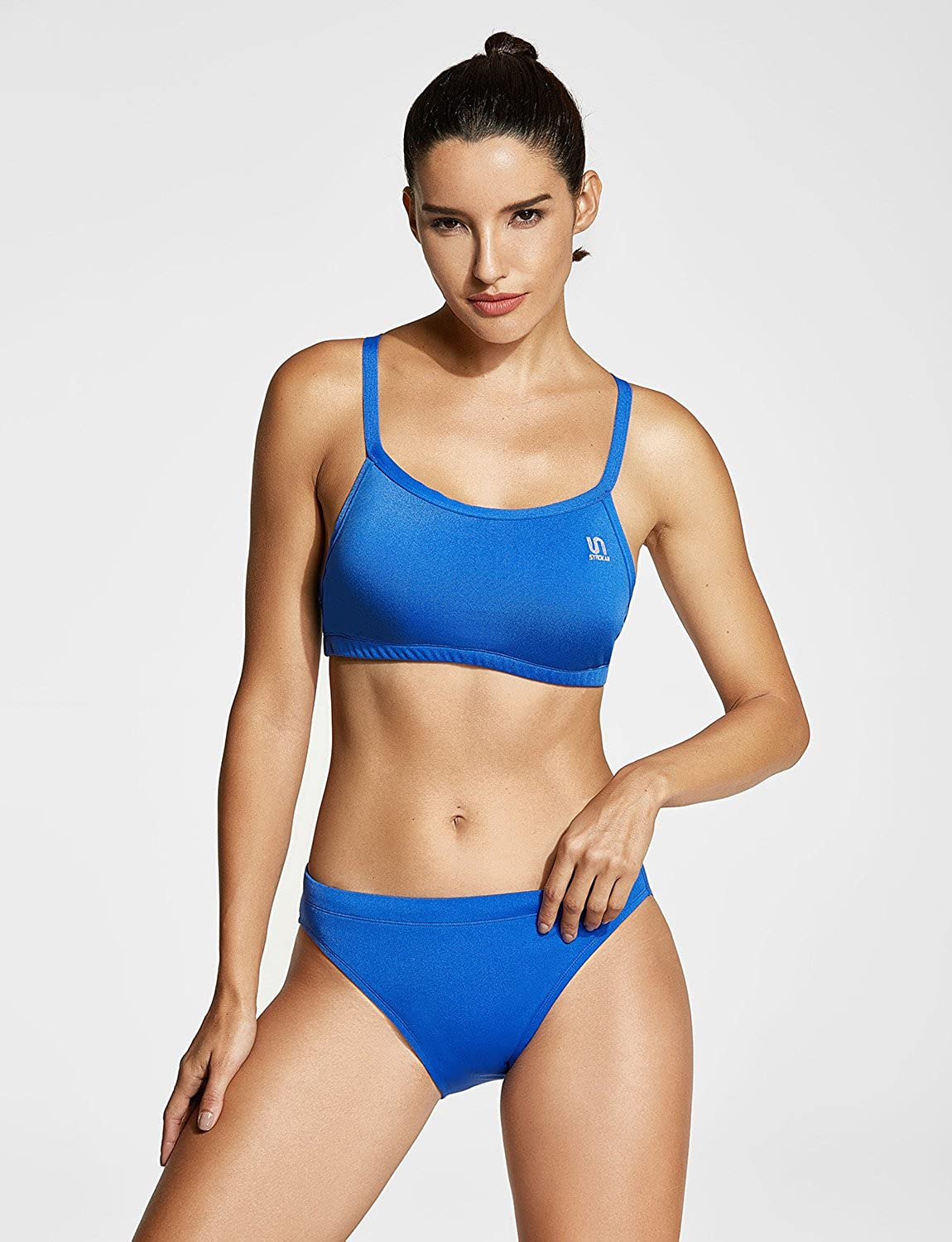 3892be1af02de Amazon.com  SYROKAN Women s Athletic Bikini Workout Two-Piece Sport Swimsuit   Clothing