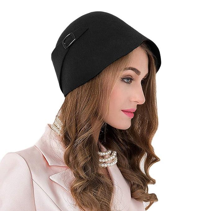 6cbc0aec0f3 DOSOMI Women 100% Wool Wide Brim Felt Fedora Cloche Hat Ladies Dress Hat  Winter Sloppy