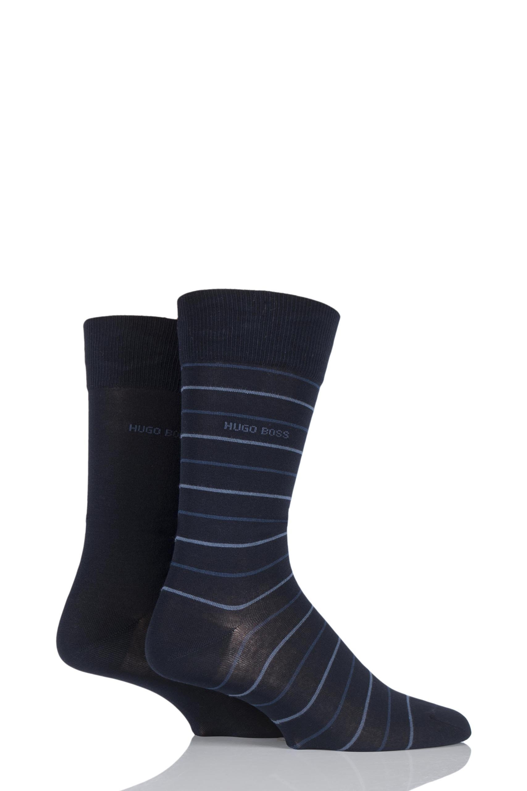 Mens 2 Pair Hugo Boss Fine Striped and Plain Mercerised Cotton Socks Dark Blue 5.5-8