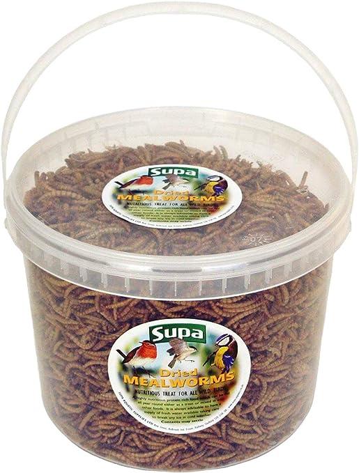 Supa Mealworms Secos para pájaros Silvestres, Cubo de 5 litros | Tratamiento Rico en proteínas de Alta energía para pájaros de jardín | atrae más ...