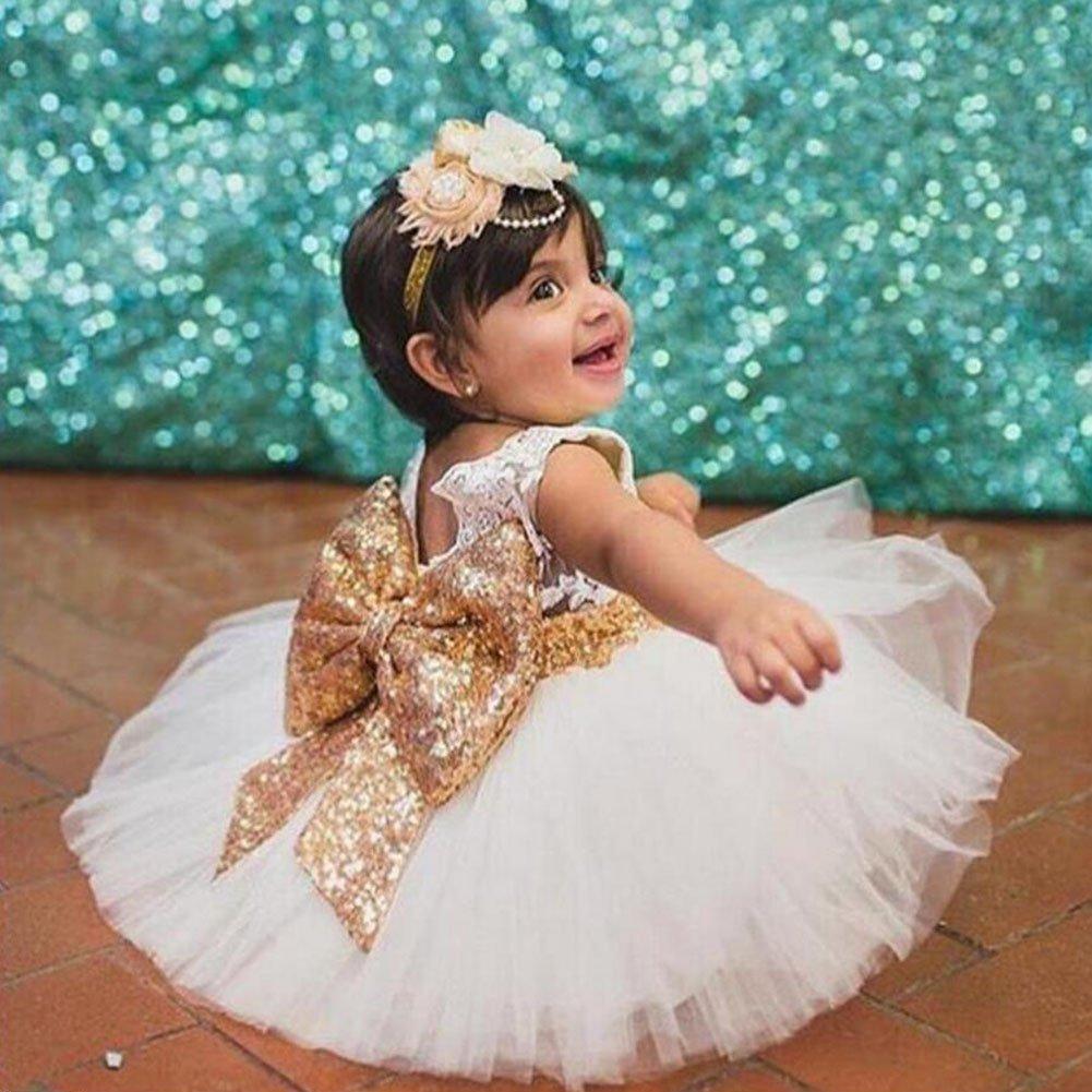 hibote Ni/ñas bowknot encaje Princesa Falda Summer Sequins Vestidos para Beb/és ni/ños peque/ños 0-5 a/ños de edad blanco//0-1years