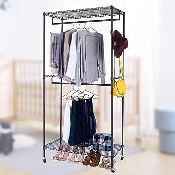 Vividy - Estantería de alambre resistente para ropa, armario portátil, con ruedas, altura ajustable, estante portátil para ropa: Amazon.es: Hogar