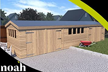 Garaje, caseta, taller para el jardín de madera muy resistente, de 6 x 3 metros.: Amazon.es: Jardín