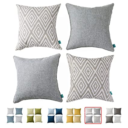 Cool Home Plus Plaid Polyester Linen Decorative Pillow Covers 4 Pcs Throw Pillows Covers Gray Grey White Couch Pillowcase Cushion Cover 17X17 Throw Pillow Andrewgaddart Wooden Chair Designs For Living Room Andrewgaddartcom