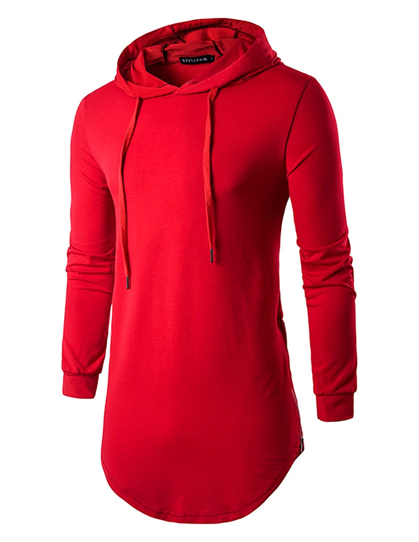 YCHENG Men's Hipster Hip Hop T-Shirt Asymmetric Pullover Longline Hoodie Sweatshirt