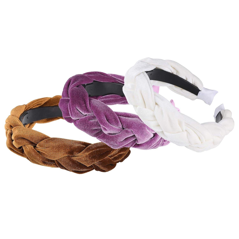 WELROG Imbottito Cerchietti donne Di spessore Velluto 90s Accessori per capelli Fascia per capelli Vintage spagnolo Stile Alice Hair Band