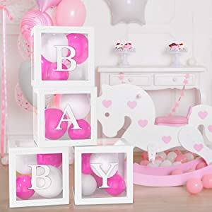 4PCS Balloon Box for Baby Shower Decorations For Boy And Girl. Gender Reveal Balloon Decorative Blocks With Letters BABY. Set Include 4pcs White Transparent Balloon Box For 1st Birthday Party Decor. By AletT.