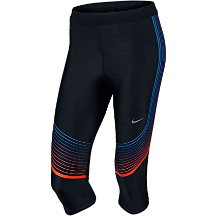 05d29dfd1d41af Nike Womens Power Speed Compression Running Capri Tights (X-Small,  Black/Hyper