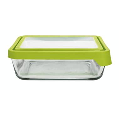 Anchor Hocking TrueSeal Glass Food Storage Containers with Lids, Green, 11 Cup (Set of 2)
