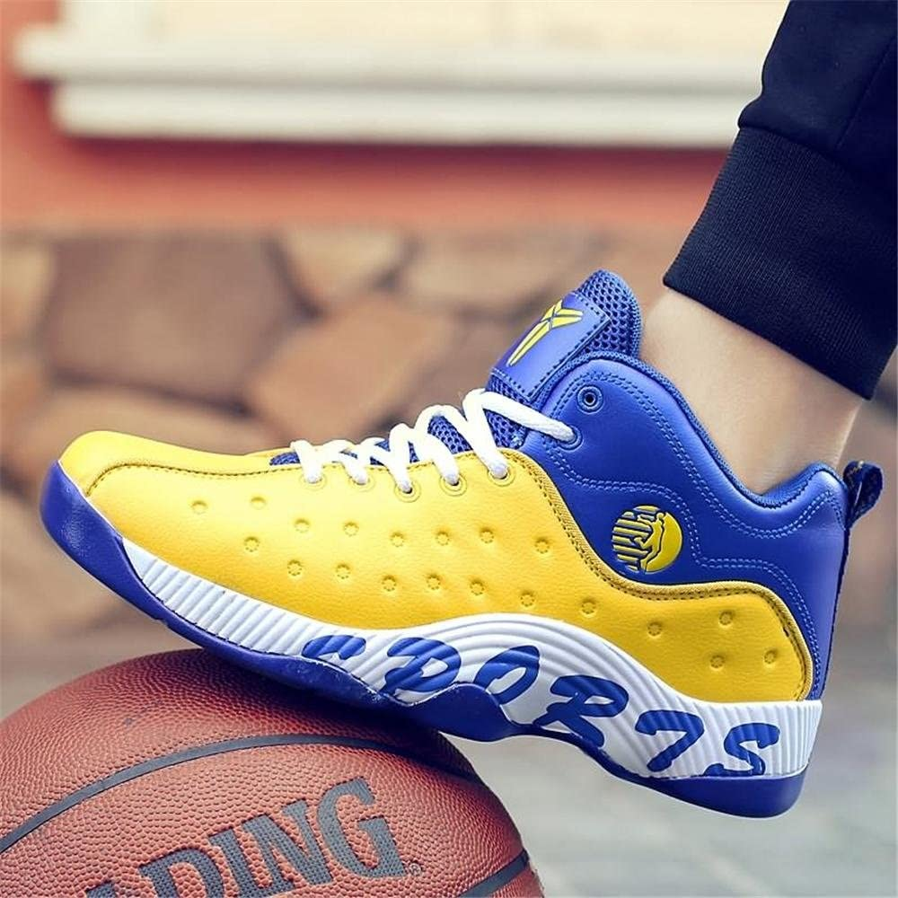 XBXB Basketball Shoes Sports & Outdoor Sandals Men Casual Sports Shoes Air Trainers Fitness Flats Running Athletic Competition Sneakers yellow and blue